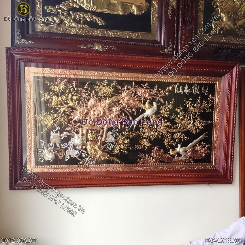 Tranh Tam Khí Vinh Hoa Phú Quý Chạm Đồng Bạc Vàng 1m55