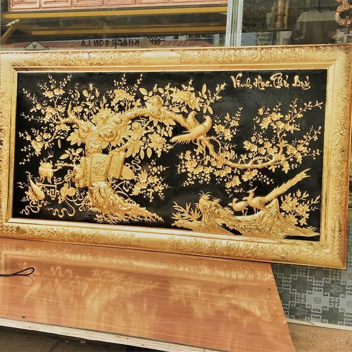 Tranh Vinh Hoa Phú Qúy Bằng Đồng Mạ Vàng 1m55x88cm