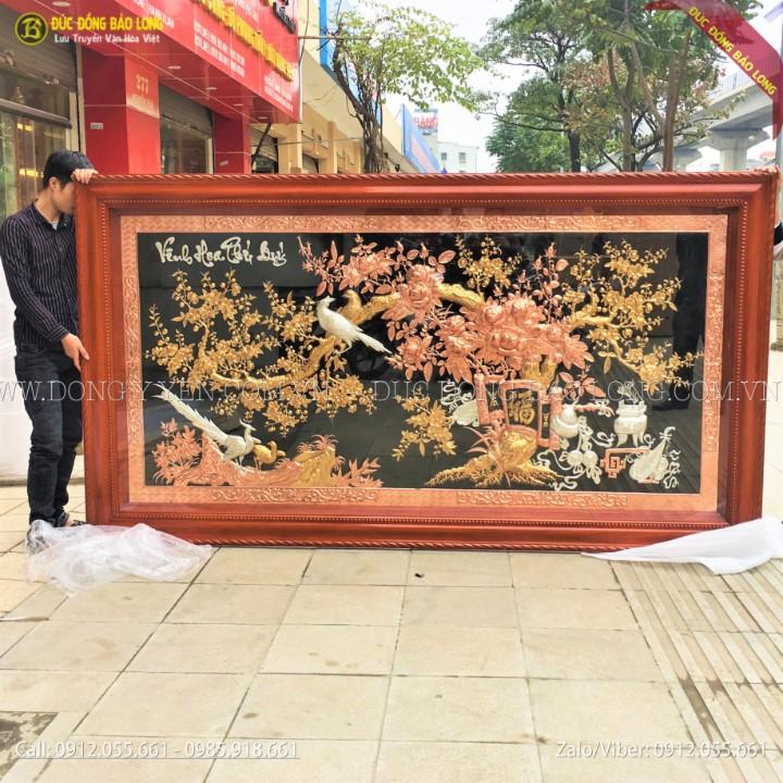Tranh Vinh Hoa Phú Qúy Bằng Đồng Tam Khí khung gỗ 2m61x1m55
