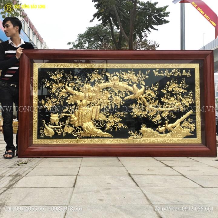 Tranh Vinh Hoa Phú Qúy Bằng Đồng Mạ Vàng 24k khung gỗ 2m31x1m27