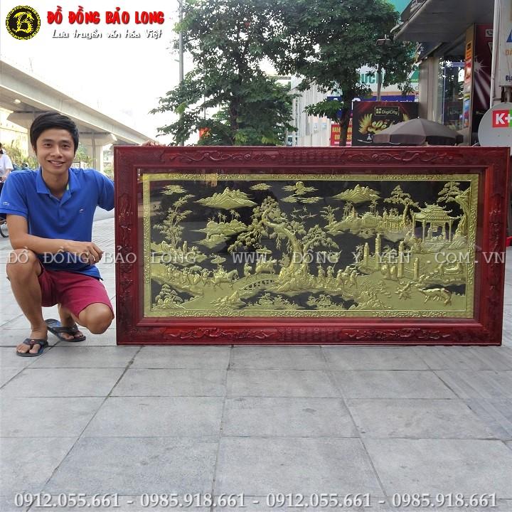 Tranh Vinh Quy Bái Tổ Bằng Đồng Khung Gỗ Hương 1m76 x 89cm
