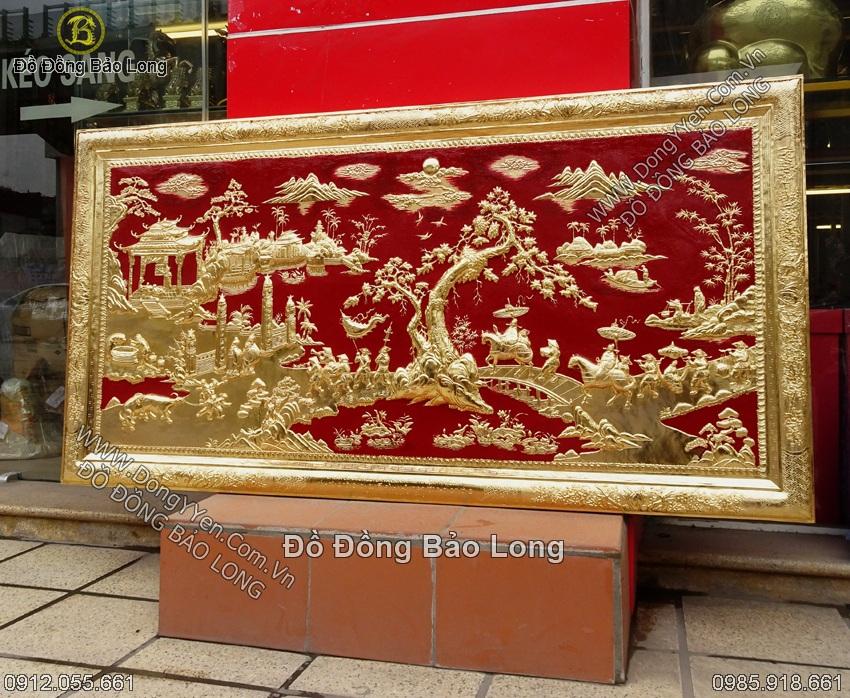 tranh vinh quy bái tổ 1m55 khung liền đồng mạ vàng 24k