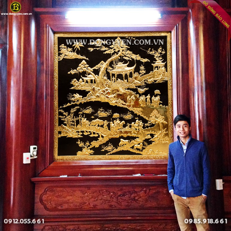 Lắp Tranh Vinh Quy 1m87 mạ vàng 24k cho Nhà Gỗ ở Hưng Yên
