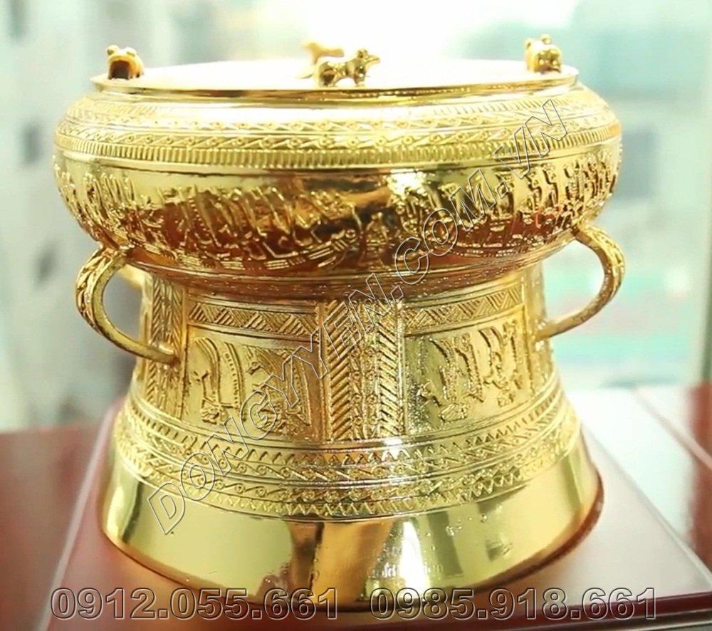 Trống Đồng 10cm Mạ Vàng 24K - Trống Đồng Quà Tặng Mạ Vàng 24K