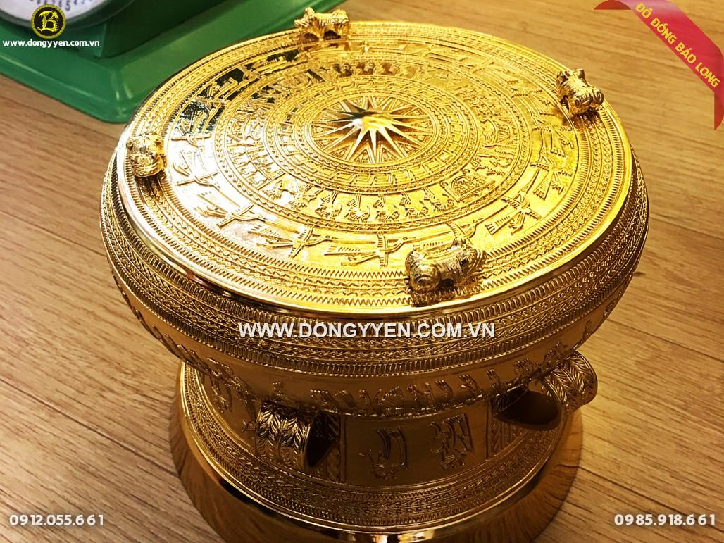 trống đồng quà tặng dk 20cm mạ vàng