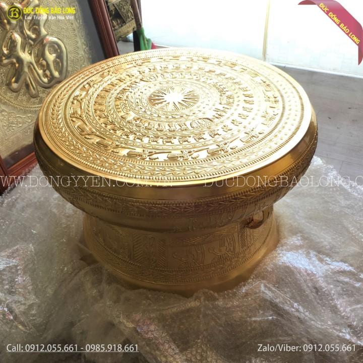 Trống Đồng Đông Sơn 50cm Dát Vàng 9999 Cho Khách Đắk Nông