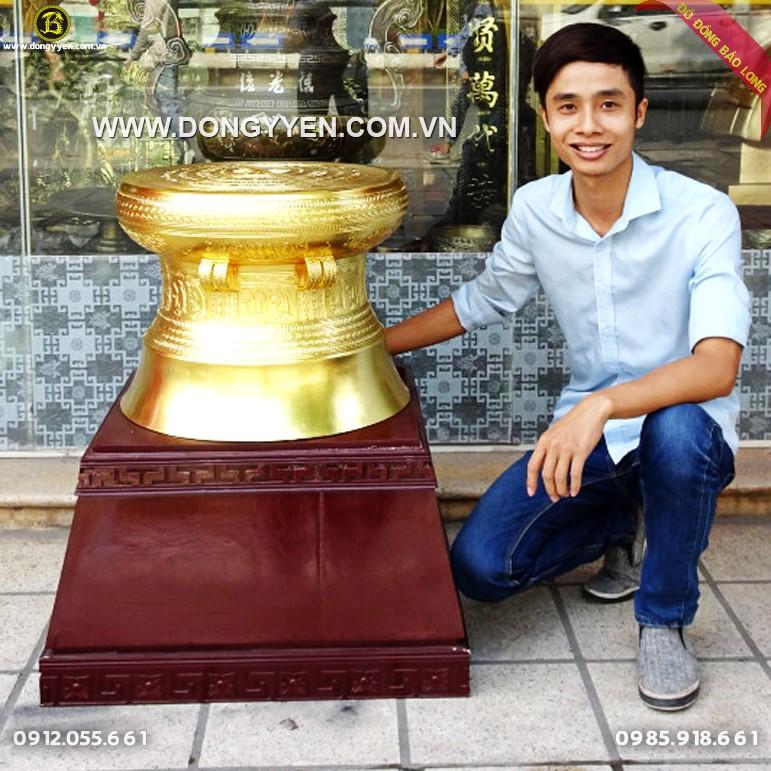 Trống Đồng Ngọc Lũ Dát Vàng 9999 50cm