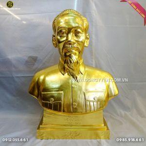 Đúc Tượng Bác Hồ Dát Vàng cao 81cm Cho Phòng Thờ Bác