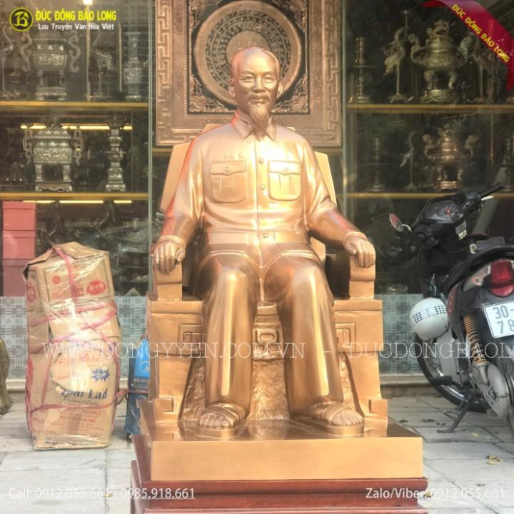 Tượng Bác Hồ Ngồi Ghế Bằng Đồng Đỏ 68cm