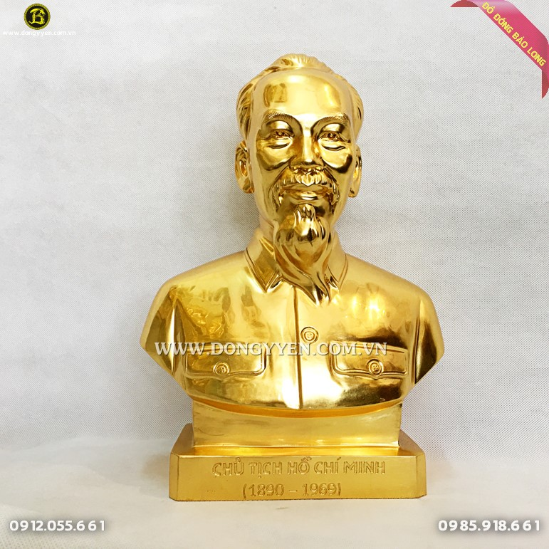 tượng chân dung bác hồ cao 37cm bằng đồng đỏ dát vàng 9999
