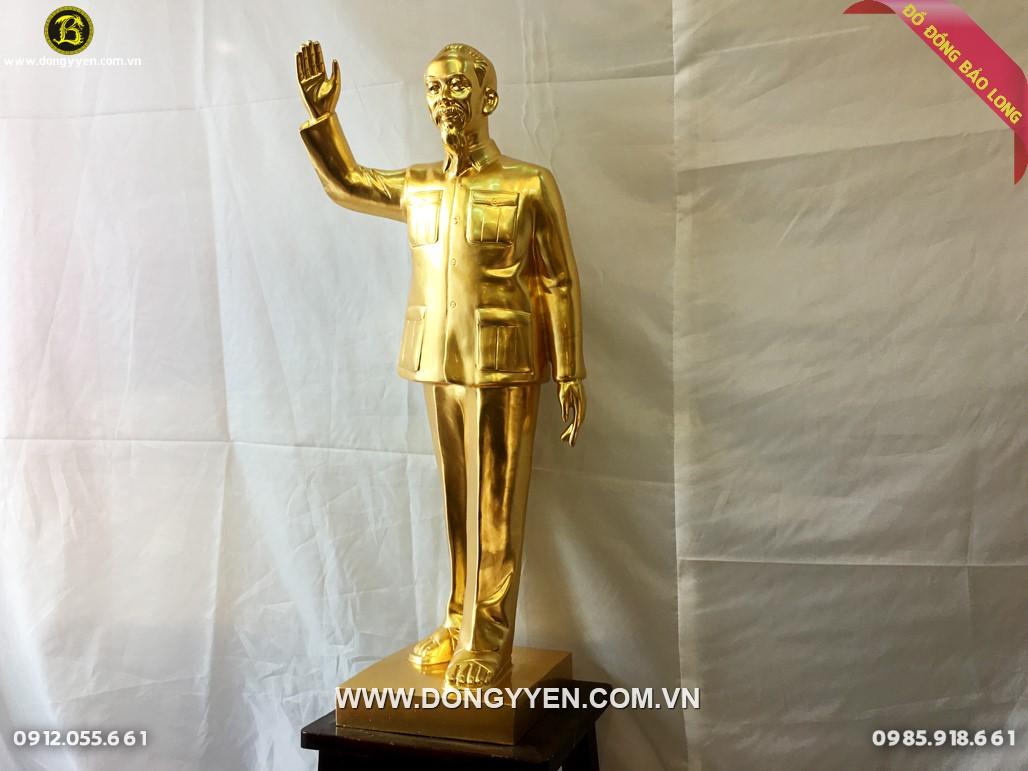 tượng bác hồ giơ tay chào cao 81cm dát vàng 9999