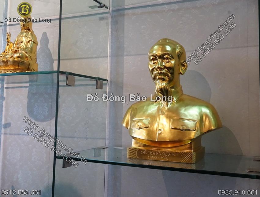 tượng bác hồ chân dung cao 50cm dát vàng
