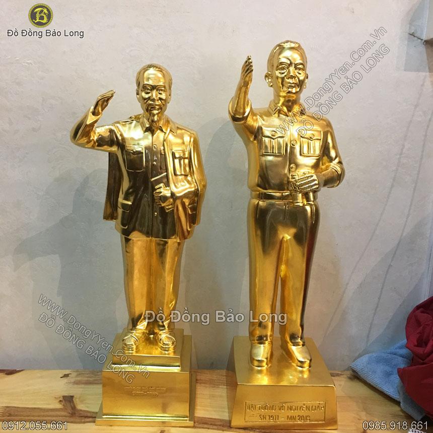 Bộ Đôi Tượng Bác Hồ Và Võ Nguyên Giáp dát Vàng