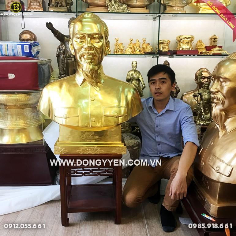 Tượng Bác Hồ Bằng Đồng đỏ 89cm dát vàng 9999