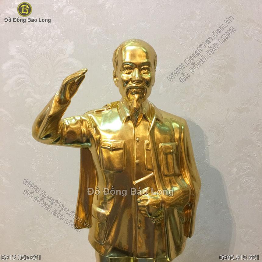 Tượng Bác Hồ Vẫy Tay Chào Dát Vàng 42cm
