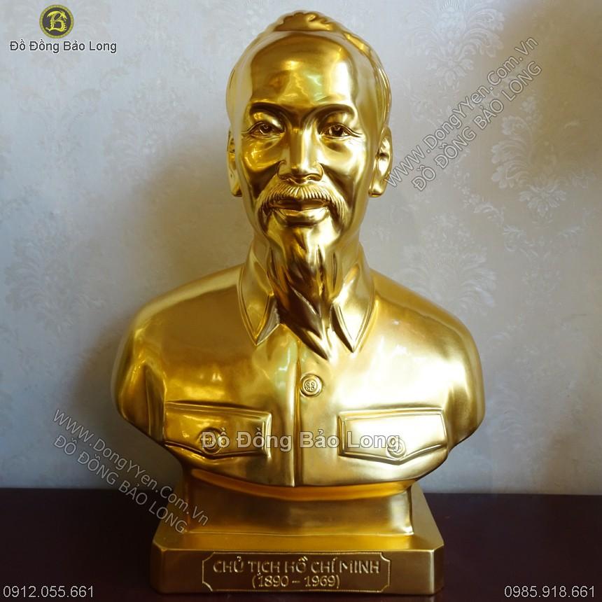 Tượng Chân Dung Bác Hồ Dát Vàng 45cm