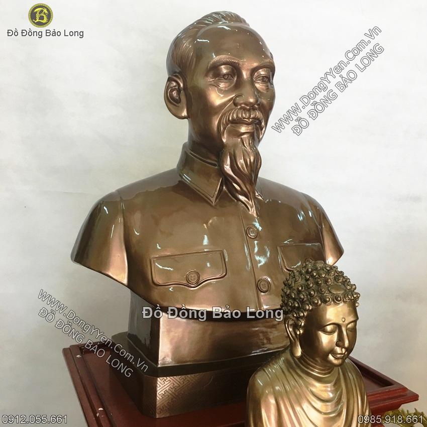 Tượng Đồng Chân Dung Bác Mẫu Đẹp 81cm