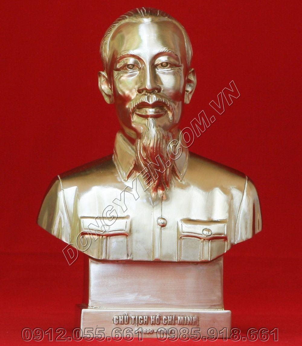 tượng chân dung bác hồ bằng đồng cao 25cm