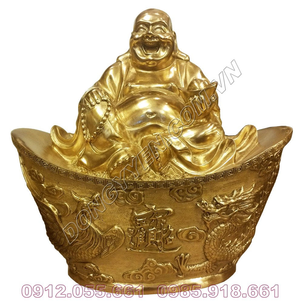 Tượng Đồng Phật Di Lặc Ngồi Trên Vàng