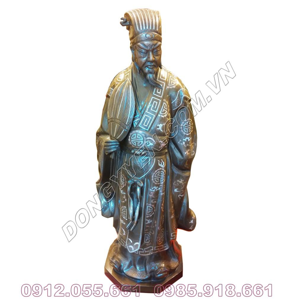 Tượng Đồng Khổng Minh Khảm Tam Khí