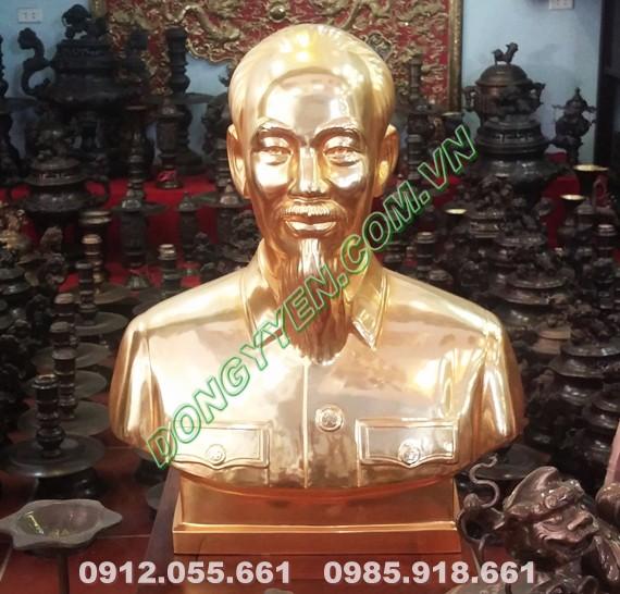 Tượng Chân Dung Bác Hồ Mạ Vàng 24K