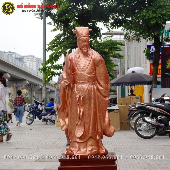 Tượng Khổng Minh Gia Cát Lượng Bằng Đồng Đỏ 69cm