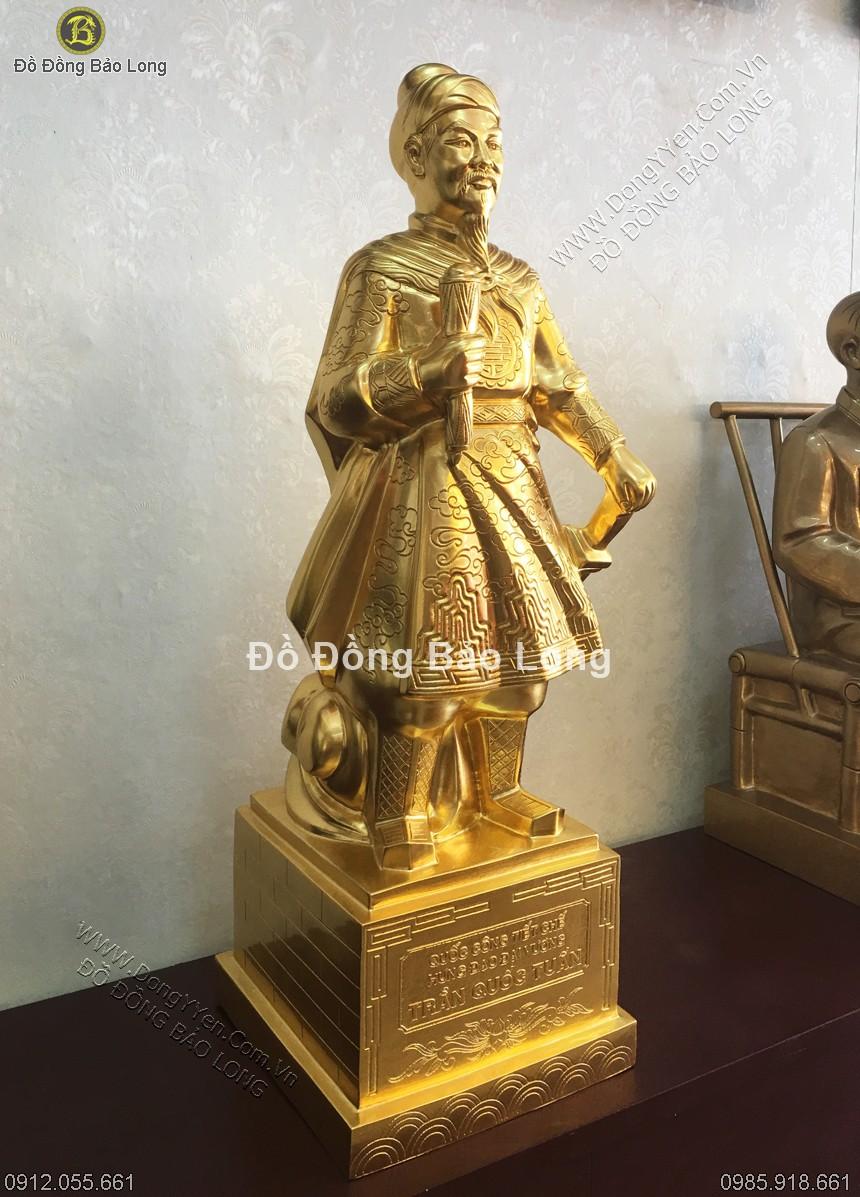 tượng hưng đạo trần quốc tuấn thếp vàng dát vàng 9999 cao 72cm