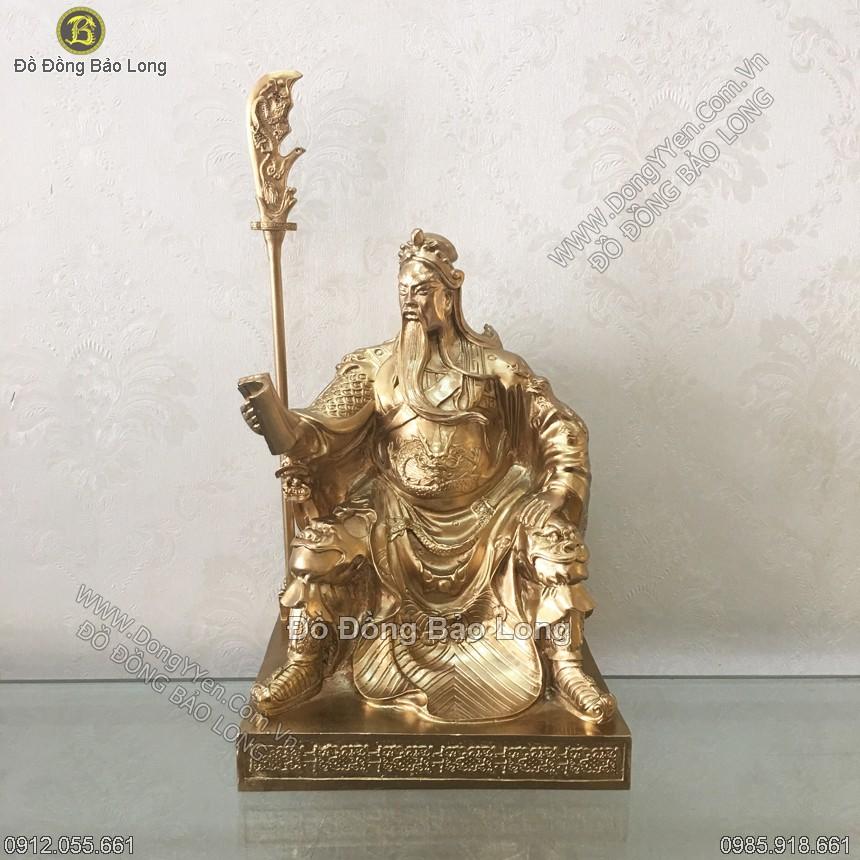 tượng quan công hàng đúc chân không ngồi đọc sách 23cm