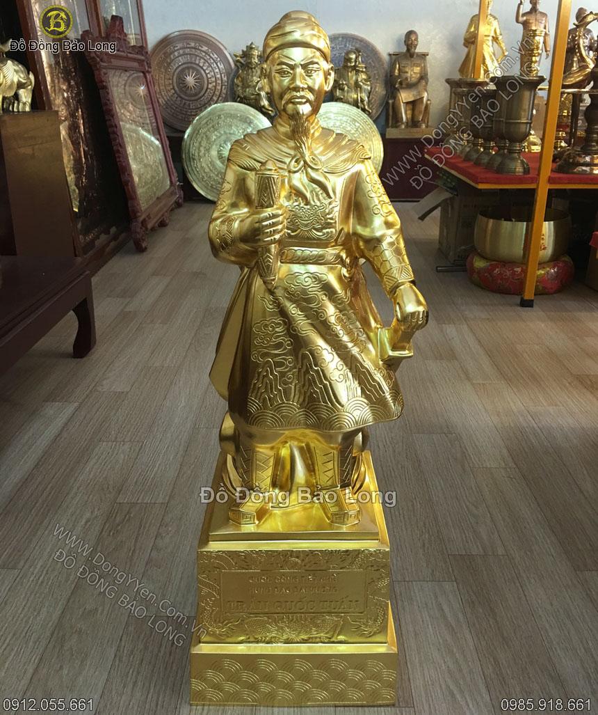 tượng đồng trần hưng đạo dát vàng 9999 cao 75cm