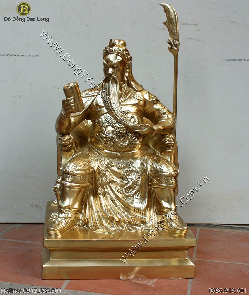 tượng quan công ngồi đọc sách 62cm