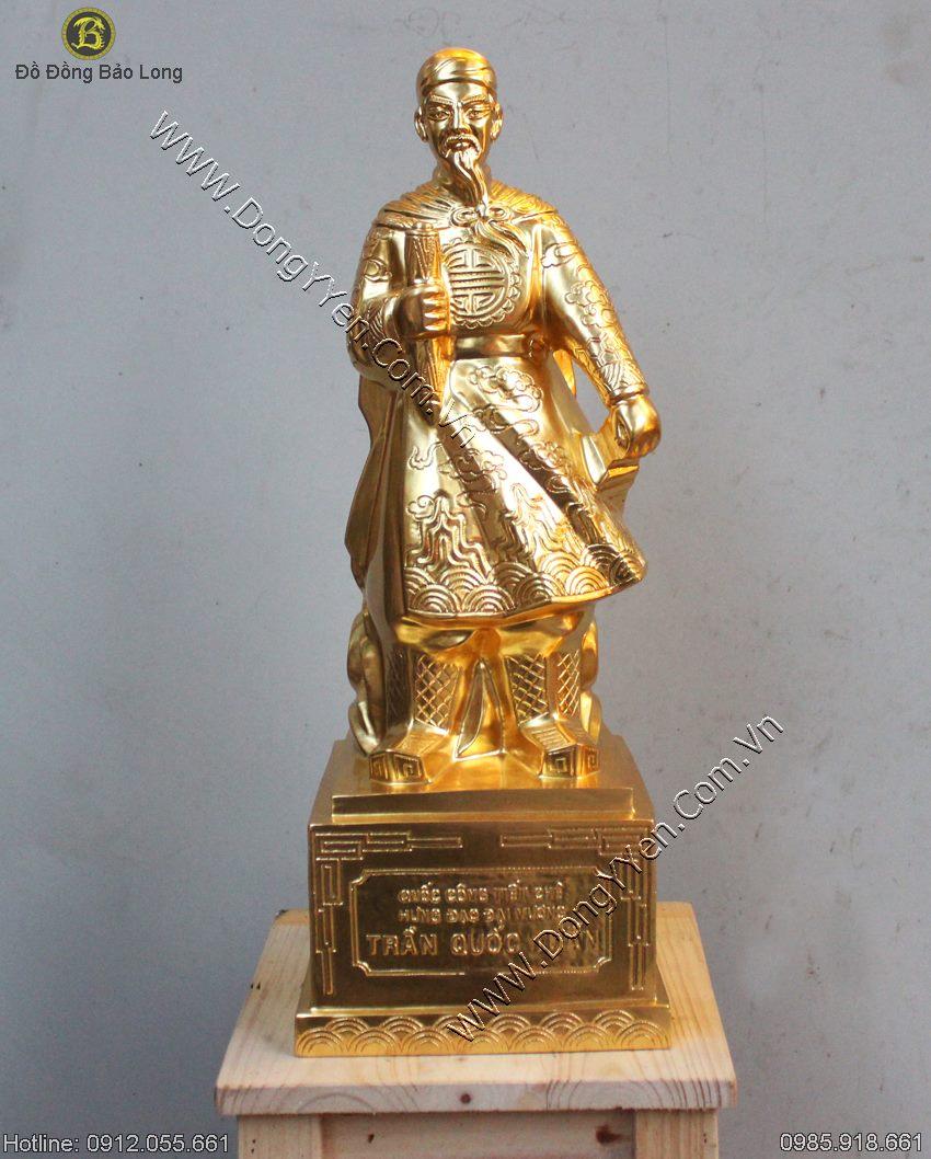 tượng trần quốc tuấn thếp vàng 9999