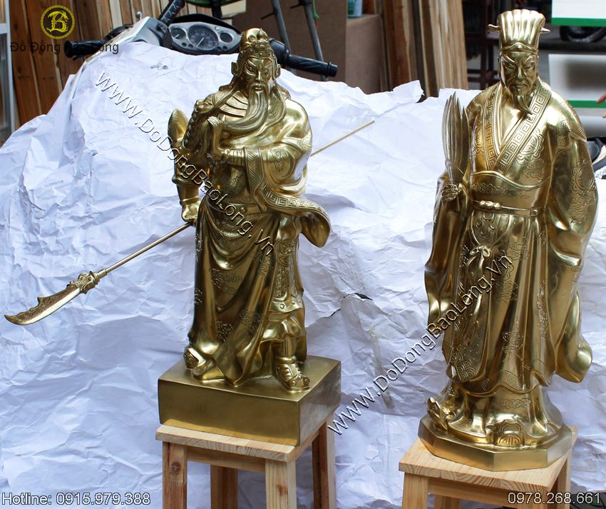 bộ đôi tượng quan công, khổng minh bằng đồng cát tút
