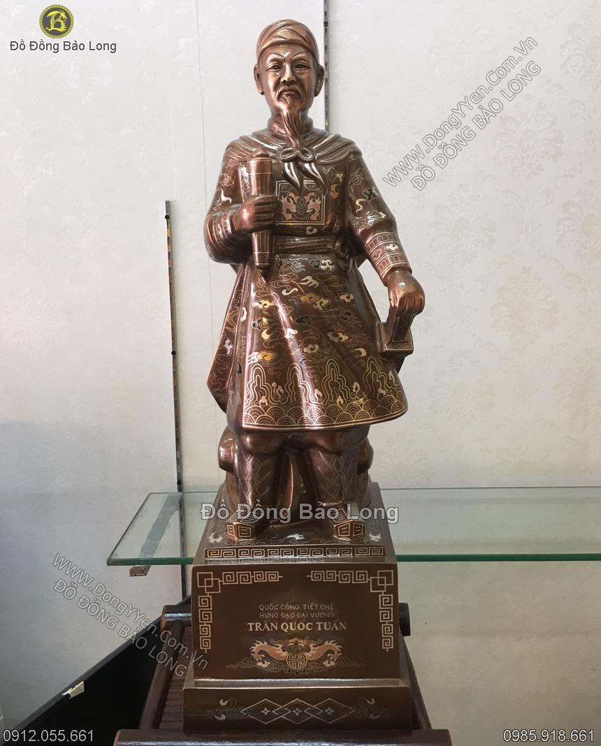 tượng trần hưng đạo cao 73cm hàng khảm tinh xảo