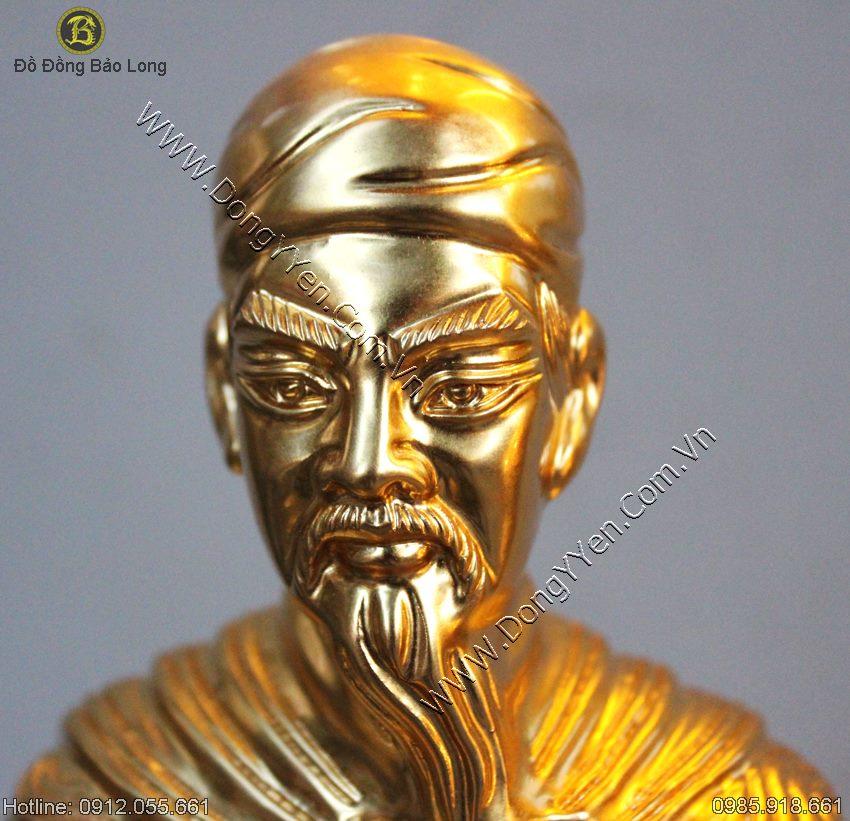 Tượng Đồng Trần Quốc Tuấn Thếp Vàng 50cm