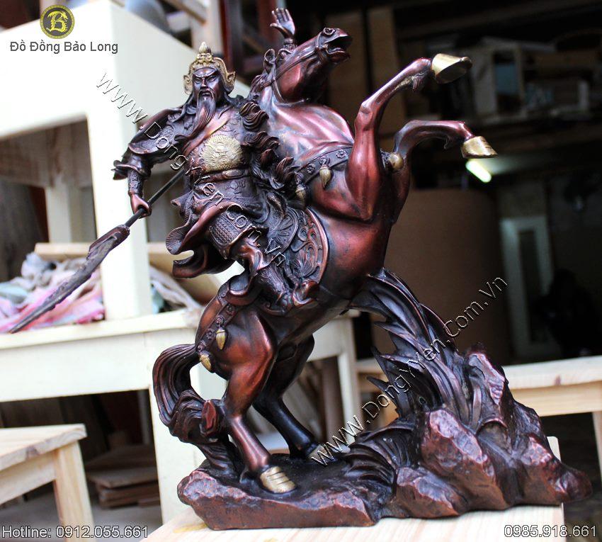 Tượng Quan Công Cưỡi Ngựa Màu Giả Cổ 38cm