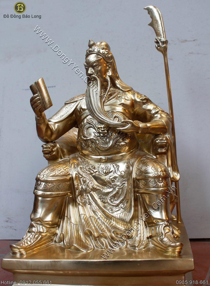 Tượng Quan Công Ngồi Đọc Sách Đồng Cát Tút Cao 62cm