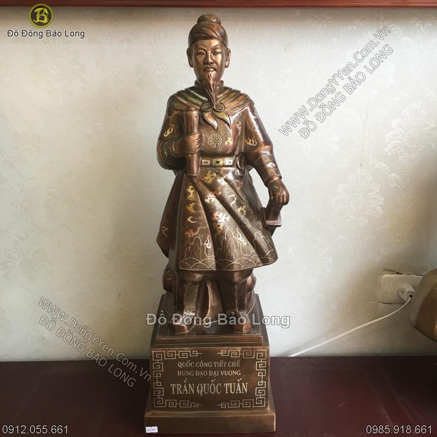 Tượng Trần Hưng Đạo Khảm Tam Khí Kỹ 70cm