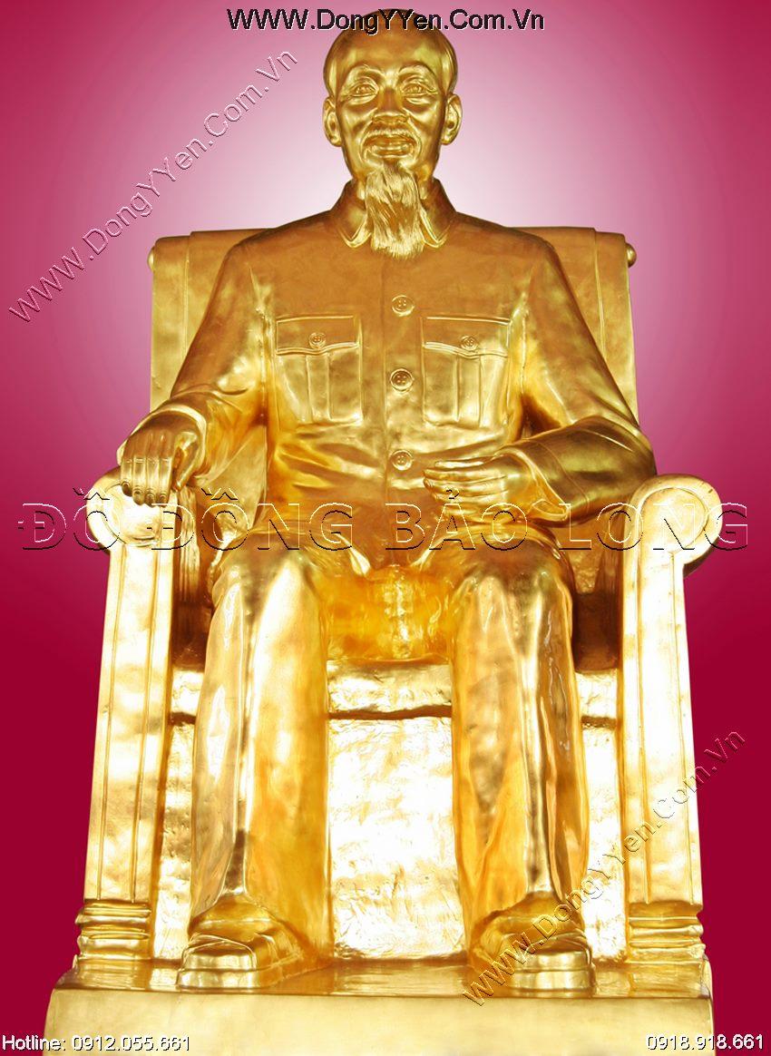 tượng đồng bác hồ thếp vàng cao 1m