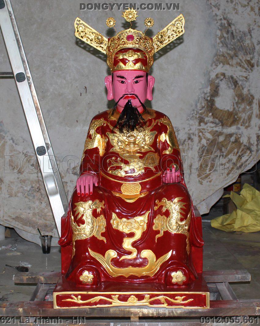 tượng đúc thánh trần triều bằng đồng thêp vàng cao 1m