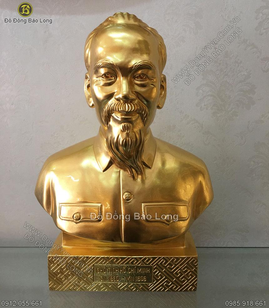 Tượng Chân Dung Bác Hồ Thếp Vàng 37cm