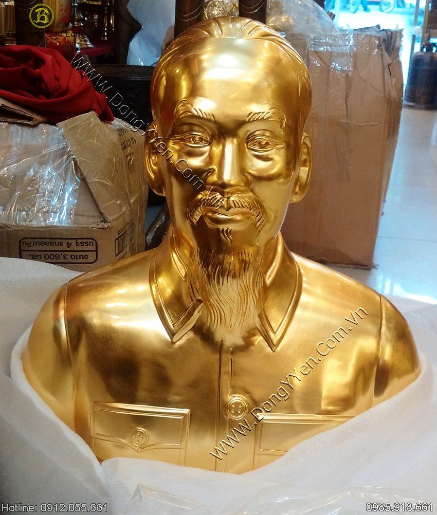 Tượng Chân Dung Bác Hồ Thếp Vàng 9999