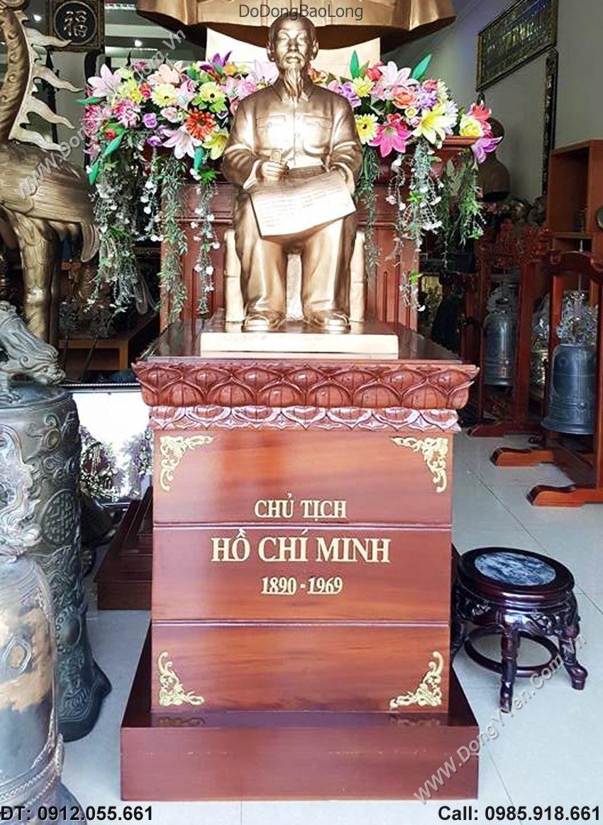 Tượng Đồng Bác Hồ Đọc Báo 60cm