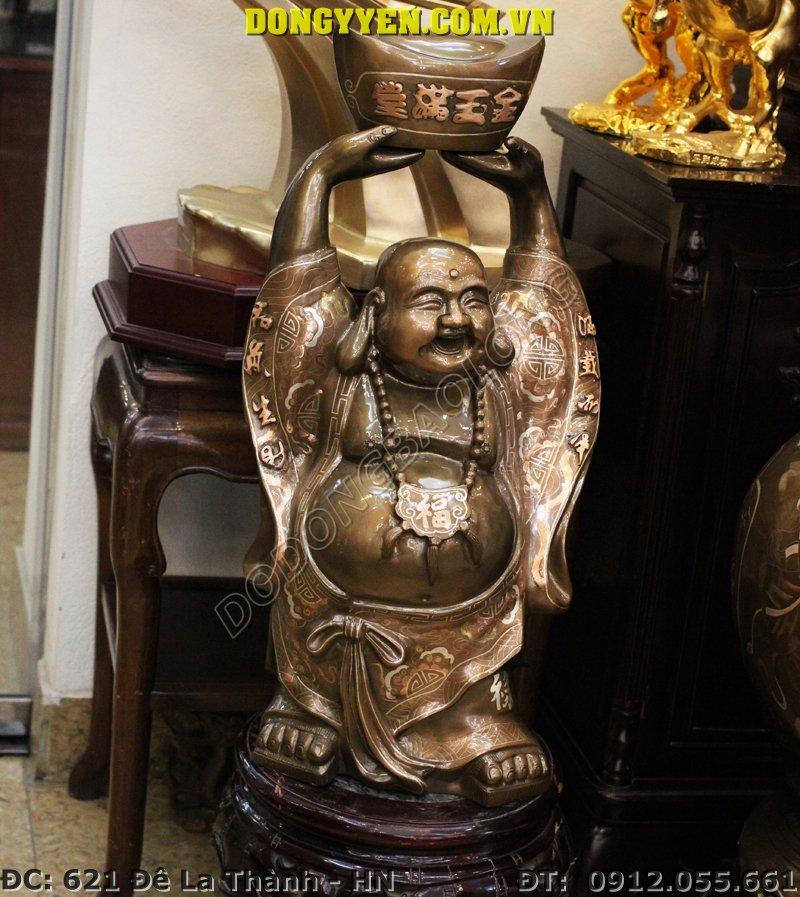 Tượng Đồng Phật Di Lặc Đội Tiền Vàng Khảm Tam Khí