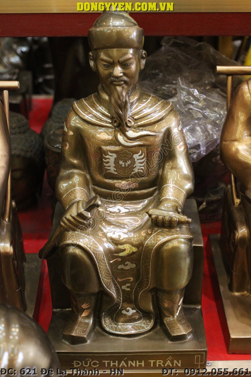 Tượng Đức Thánh Trần Hưng Đạo Ngồi Bằng Đồng Đỏ Tam Khí 45cm