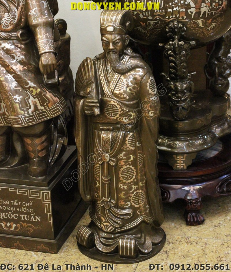 Tượng Gia Cát Lượng Bằng Đồng Khảm Tam Khí Cao 70cm