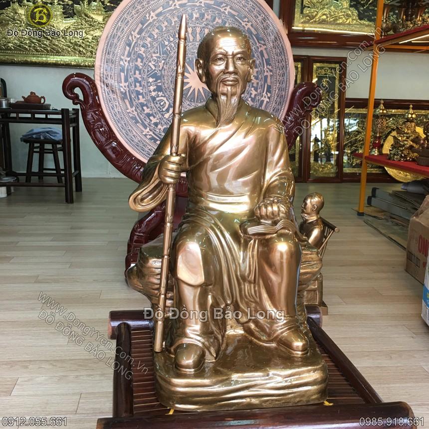 Tượng Lê Hữu Trác Bằng Đồng Đỏ 42cm