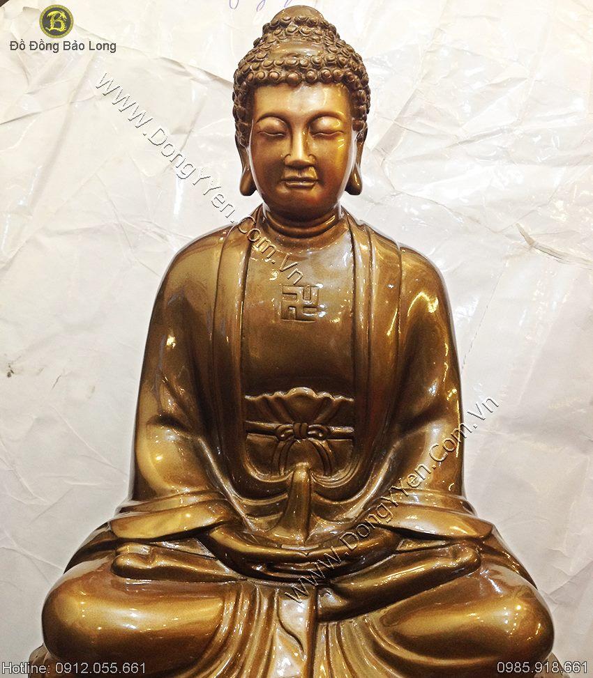 Tượng Phật A Di Đà Bằng Đồng Đỏ 42cm