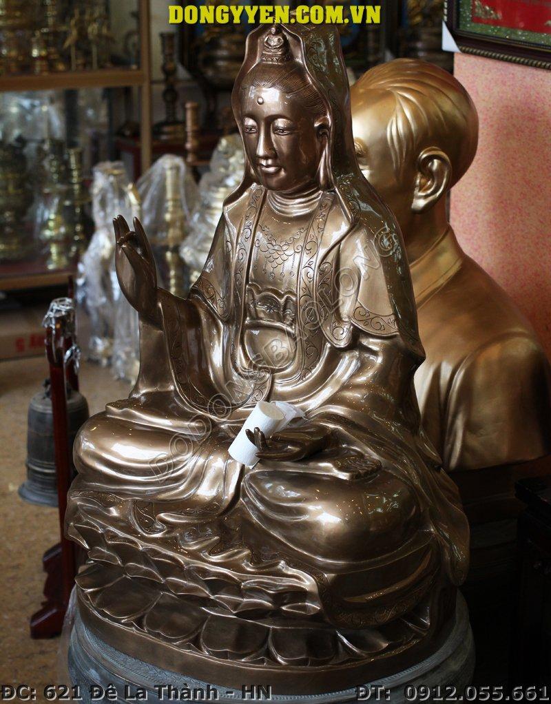 Tượng Phật Bà Quan Âm Bằng Đồng Đỏ 50cm