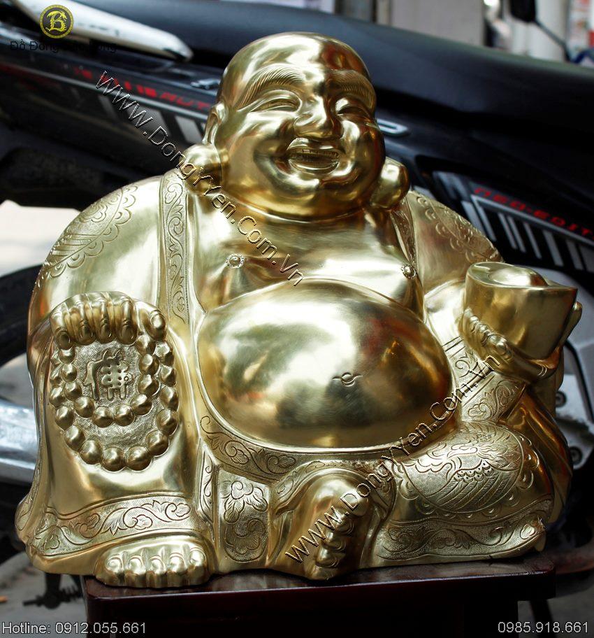 Tượng Phật Di Lặc Bày Phòng Khách Bằng Đồng Cát Tút 35cm