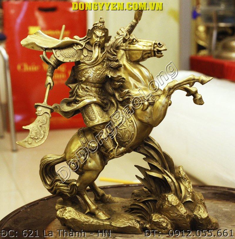Tượng Quan Công Cưỡi Ngựa Cầm Đao Bằng Đồng 40cm